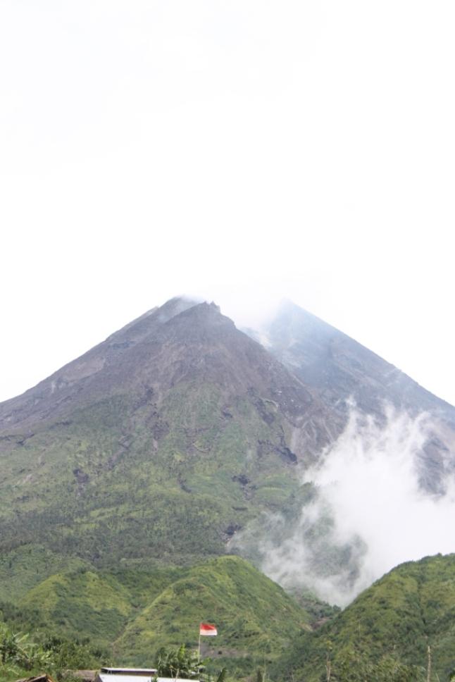 Big volcanic peak. Mt. Merapi. Indonesia